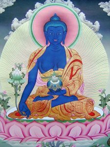 Healing Buddha cures suffering using the medicine of his teachings.